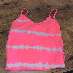 pink and white tie dye stretch tank top